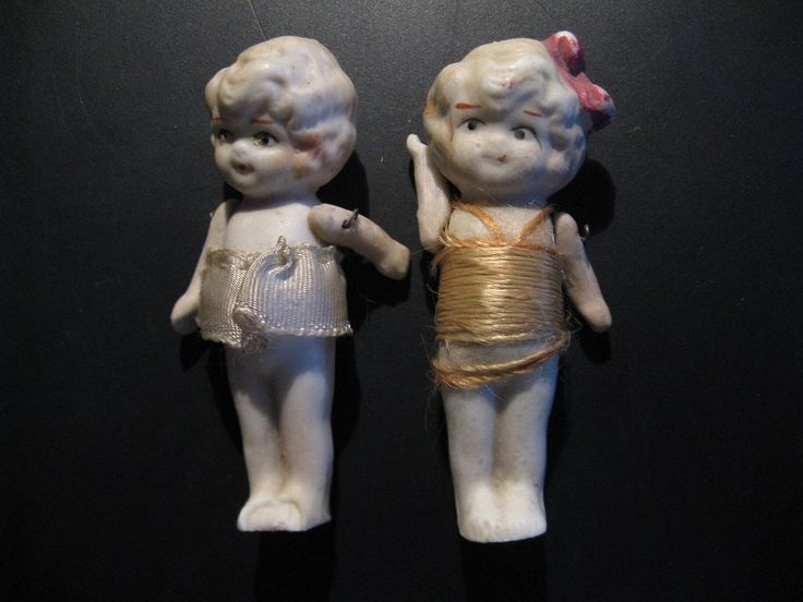Two beautiful authentic dolls, marked on the back made ​​in Japan, ca 1920-30!