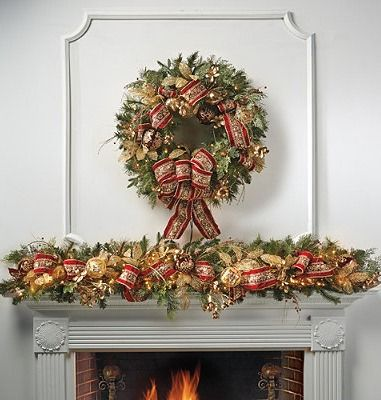 "Check another item off your ""to-do"" list by decking the halls with gorgeous pre-decorated GreeneryFireplaces Mantles, Fireplaces Mantels, Mantel Decor, Christmas Decor, Prelit Garlands, Holiday Decor, Decor Pre Lit, Christmas Mantels,  Flowerpot"