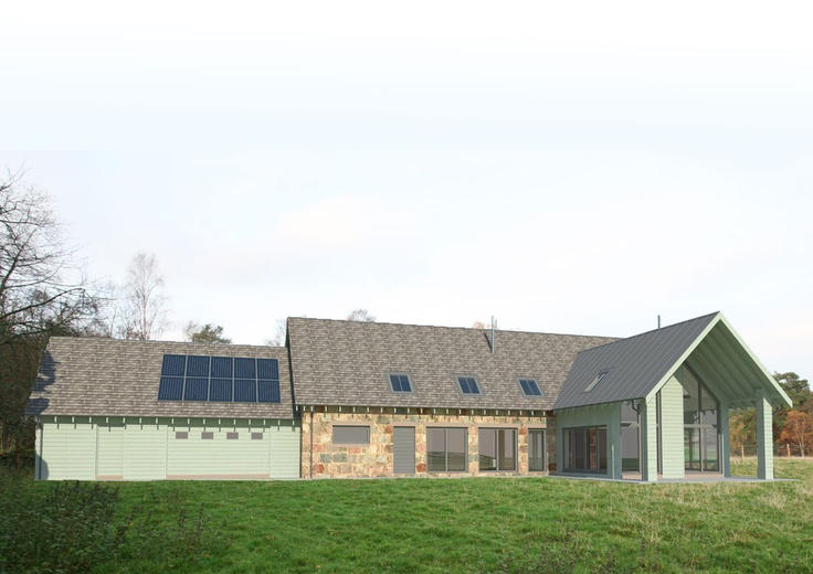 New energy efficient house in Ballogie Aberdeenshire designed by www.jamstudio.uk.com - 3D concept image - Exterior garden view