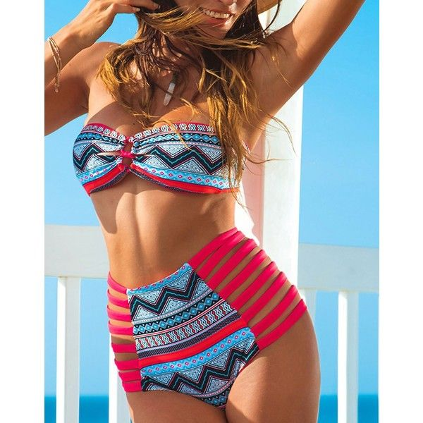 Red Bohemian Bandeau Top & High Waist Bikini Set (£18) ❤ liked on Polyvore featuring swimwear, bikinis, underwire bra, red bandeau bikini top, bandeau tops, underwire bandeau bikini top and red bikini swimwear