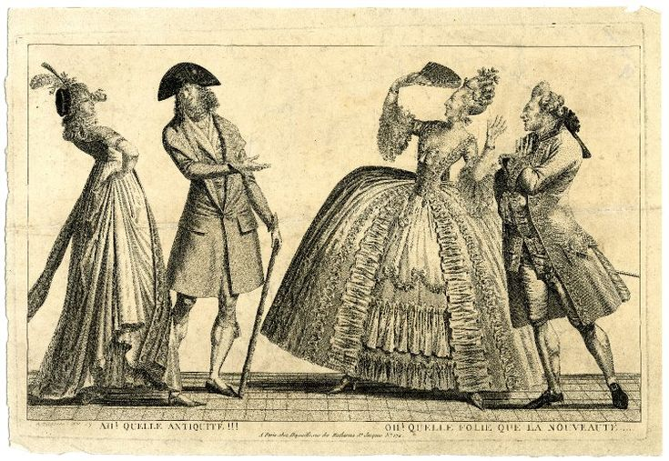 Satire on the Incroyables: two couples, one an Incroyable and Merveilleuse, the other of the ancien régime, mock each other.  1797 Etching and engraving