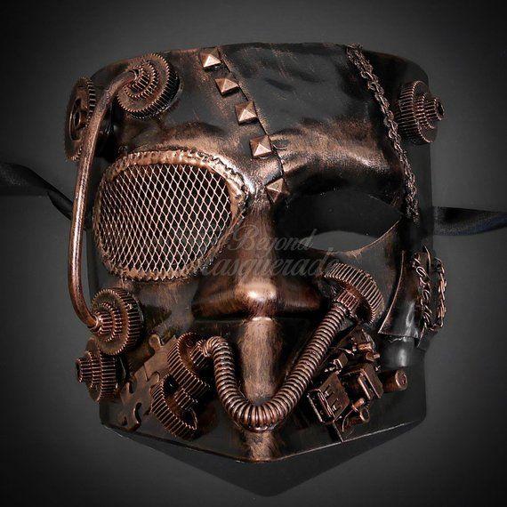 Bauta Bionic Steam Punk with Gears Terminator Inspired Costume Halloween Mask