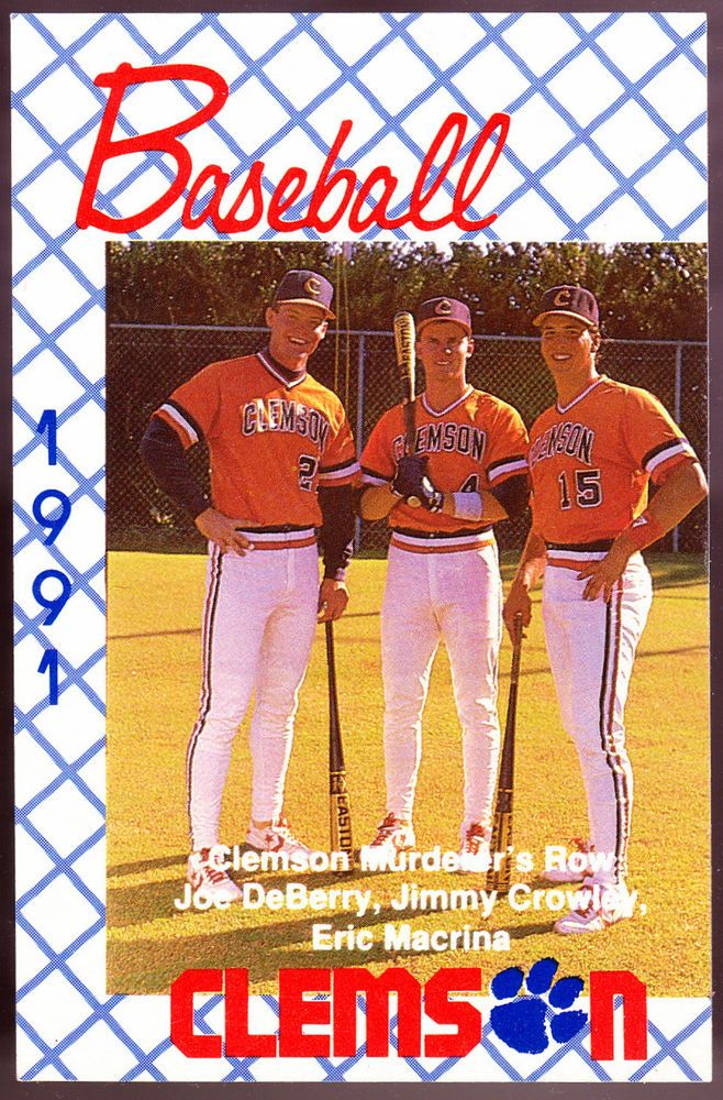 1991 CLEMSON TIGERS BASEBALL POCKET SCHEDULE NMMT CONDITION FREE SHIPPING #Pocket #PocketSchedules