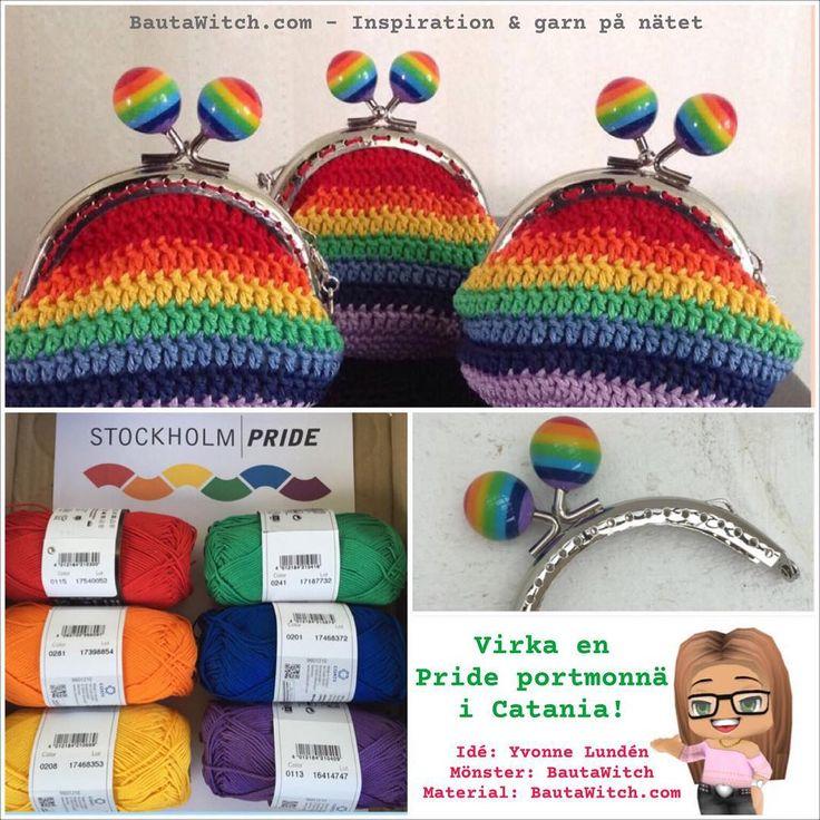 """""""Många har frågat efter Pride färgerna av Catania: Canary 208, Tangerine 281, Red 115, Sea Green 241, Royal 201 o Violet 113.  Mönster på portmonnä:…"""""""