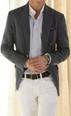 off-white chinos (which we have), a white shirt, and a grey textured blazer (like herringbone, etc).