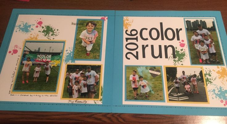Color Run Scrapbook Layout