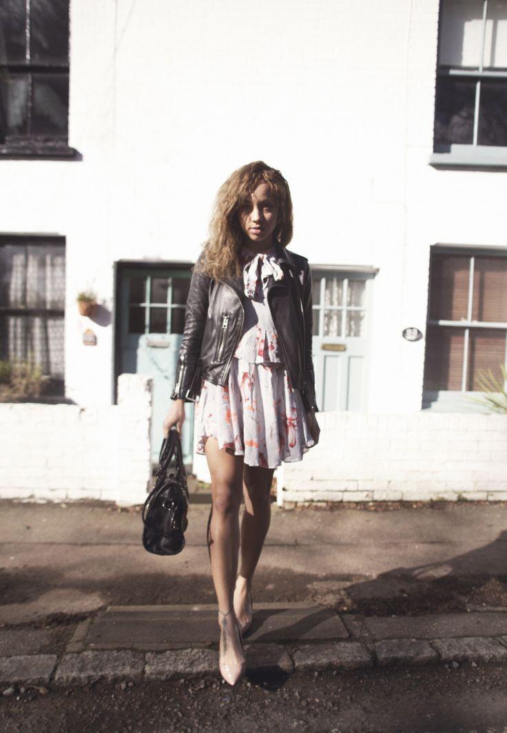 Dress - Topshop   Jacket - Allsaints Balfern   Nude Pumps - Zara   Faux fur gilet - H&M   Bag - Vivistyle