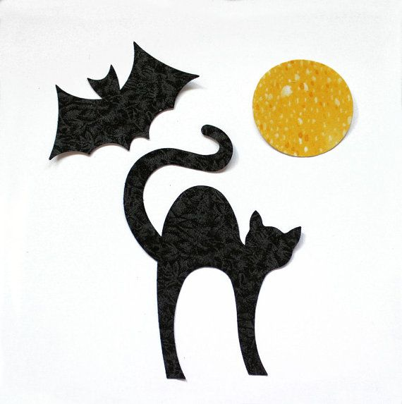 fabric applique iron on shapes black cat bat and moon halloween decorations create your own assortment