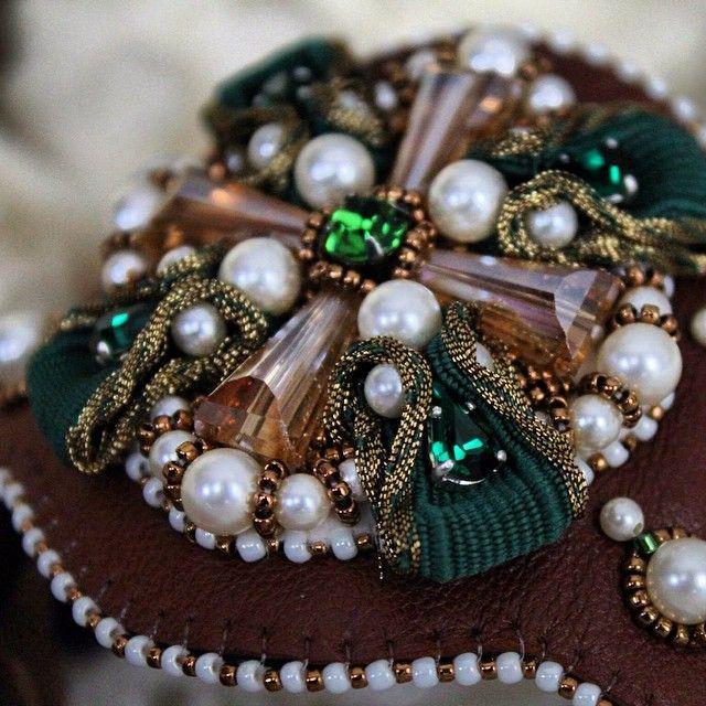 "#accessories #jewelry #ЗолотыеРукиМастеров #ярмаркамастеров #браслет #вышивка #кожа #Swarovski #perlen #Armband #accessories #Elegant #exclusive #Фрагмент браслета ""Кульмский Крест"", вышивка на коже."
