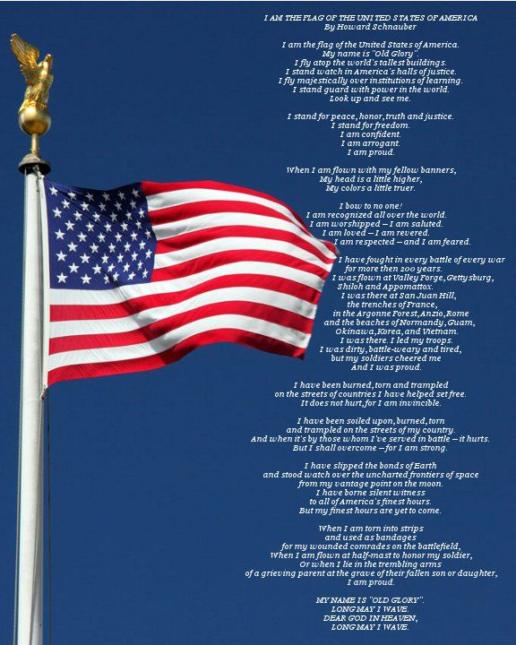 I Am The Flag of the United States of America (printable)  I love this poem!