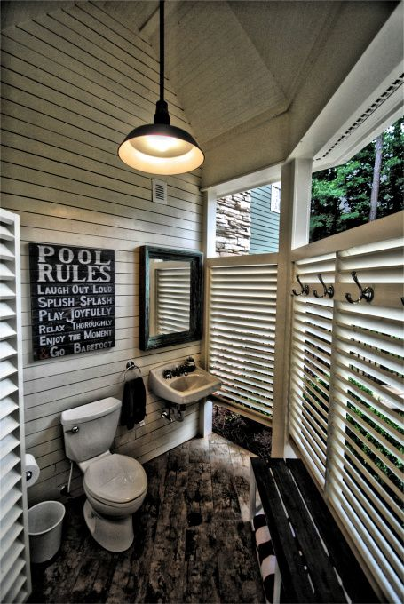 "Outdoor Bathroom, pinner said ""This bathroom is located in our ""summer house"" next to our pool area. We have a small child, so to stop little feet from getting our inside wet, we designed this outdoor bathroom and changing area. Never realized how much it would get used!"""