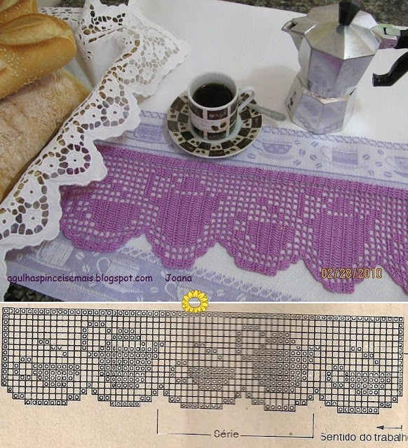 filet crochet: pot and cup
