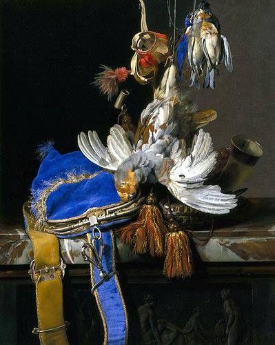BLAUW: In dit stilleven schilderde Willem van Aelst de fluwelen jachttas met het zeer kostbare blauwe pigment Lapus Lazuli. Andere kunstenaars gebruikten, vanwege de prijs, veel goedkopere, maar minder stabiele, blauwe pigmenten uit China. Deze verkleurden snel, vandaar dat een dergelijke sterke blauwe kleur nu niet vaak meer te zien is in het werk van Hollandse meesters. Het blauw van Van Aelst bleef echter tot op de dag van vandaag stralen. Willem van Aelst, 'Jacht stilleven', ca. 1665