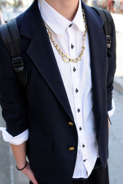 tomboy/femme style.nice crisped shirt and the coat is cool! the golden chain is looking awesome! i did't hope that