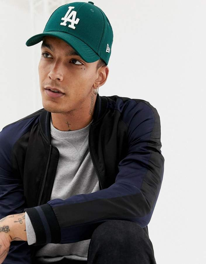 the latest 5e410 69a38 New Era 9Forty LA Dodgers League Essential adjustable cap in dark green   fashion  mensfashion  menswear  streetstyle  style  outfit  mensstyle   hair  model ...