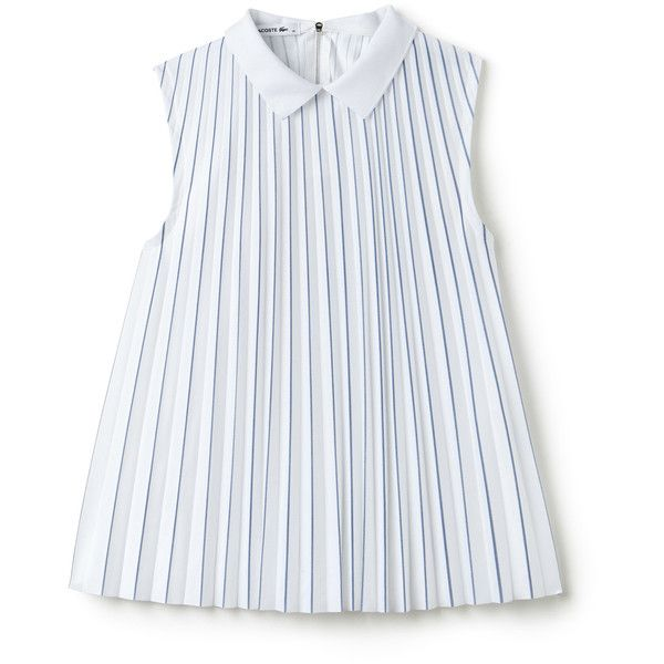 White Women's Jersey Polo Collar Pleated Top ($195) ❤ liked on Polyvore featuring tops, white pleated top, white jersey, white tops, lacoste and lacoste tops
