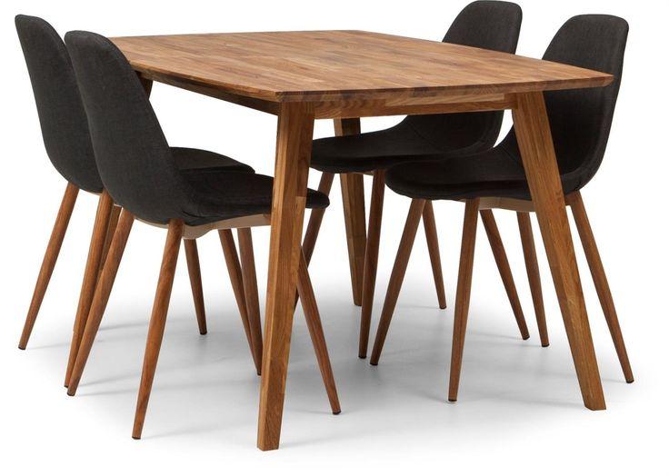 Enjoy matbord+6 stolar i oljad ek. Stol klädd i grått tyg med ben i metall. .