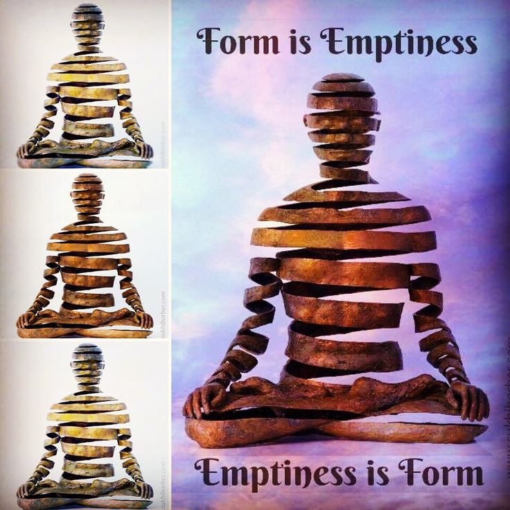 """Appearance/Emptiness, bronze sculpture by Sukhi Barber, Heart Sutra, """"form is emptiness, emptiness is form"""", compilation by Vebee14, spiral yoga meditator, space meditation, Buddhist art, visionary Buddhism, contemporary art"""