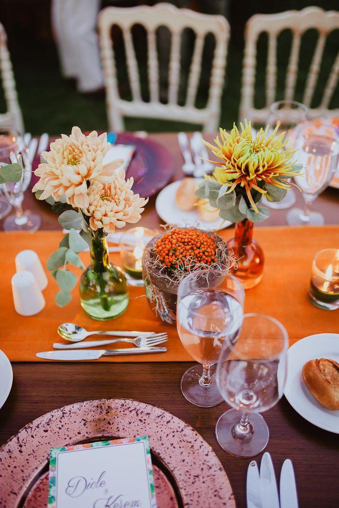 A whimsical outdoor wedding #summerwedding #orange #blackandwhite #linen #outdoor #green #wedding #burnt #orange #stripes #lights #nude #sunset