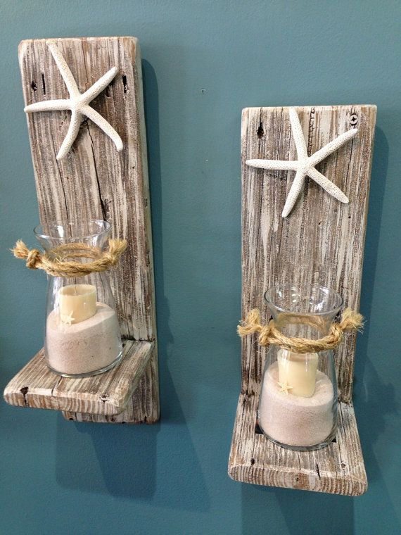 set of 2 reclaimed wood sconces with starfish wall decor cottage chic home decor one of a kind nautical sconces distressed sconces - Beach Decorations
