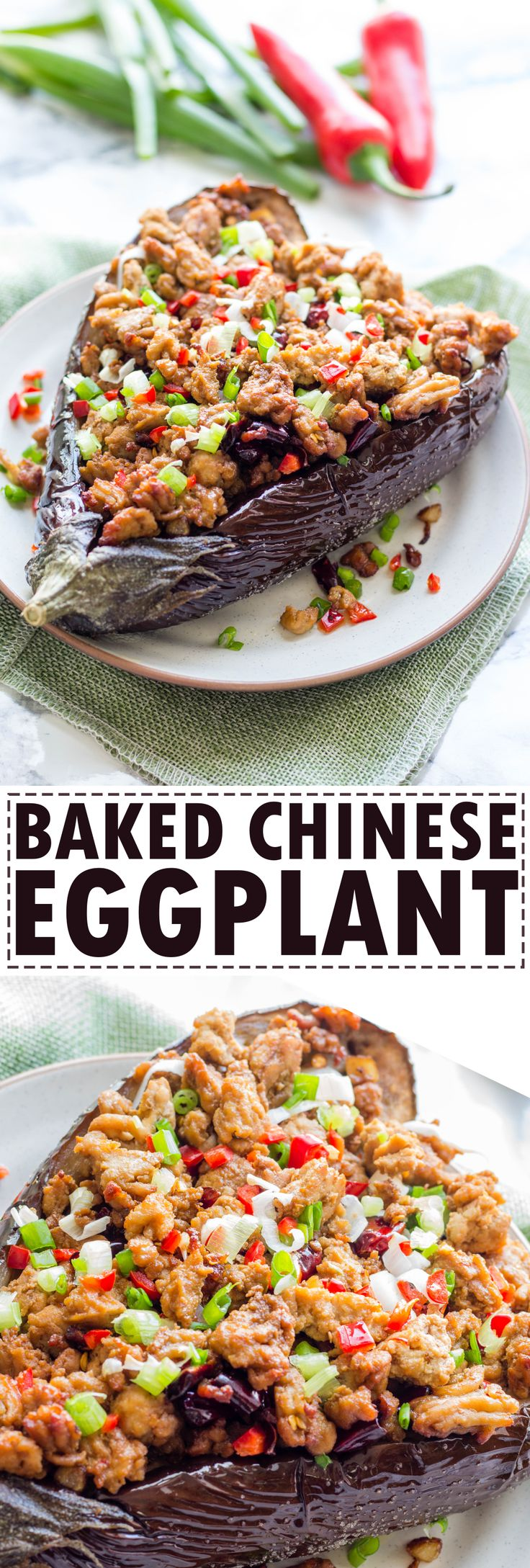 Super yummy baked Chinese eggplant recipe! This is a Szechuan eggplant recipe. A little bit spicy but you can swap the chilli with bell pepper. Very easy to do and super yummy to eat. If you like eggplant, you should definitely check out this recipe!