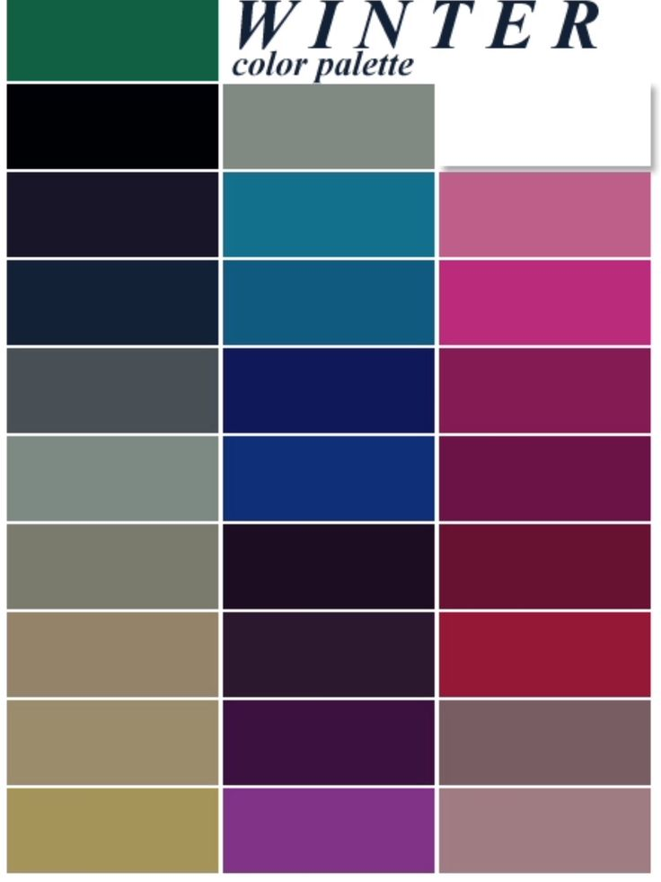 True Winter Palette - I can wear these. | Color analysis ...