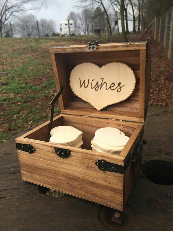 Personalized Rustic Wedding Wood Chest - Guest Book Alternative - Shabby Shic Wedding - Advice Box - Set for 50 Guests on Etsy, $56.00