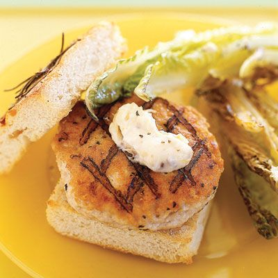 Everything delicious about a Caesar salad  lemon, Parmesan, and anchovy  makes an appearance in this easy chicken burger.