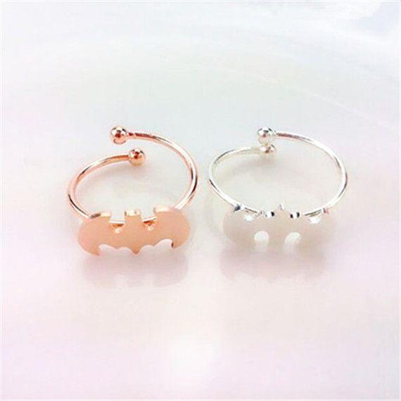 DIANSHANGKAITUOZHE 2017 Fashion Anel Feminino Silver Plated Cool Small Batman Rings Women Stainless Jewelry Knuckle Midi Ring
