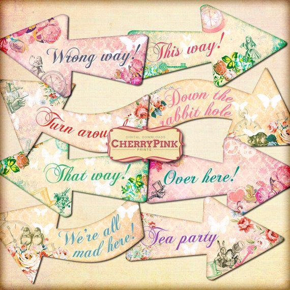 Wonderland party decorations Arrows, Alice digital party supplies, instant download!