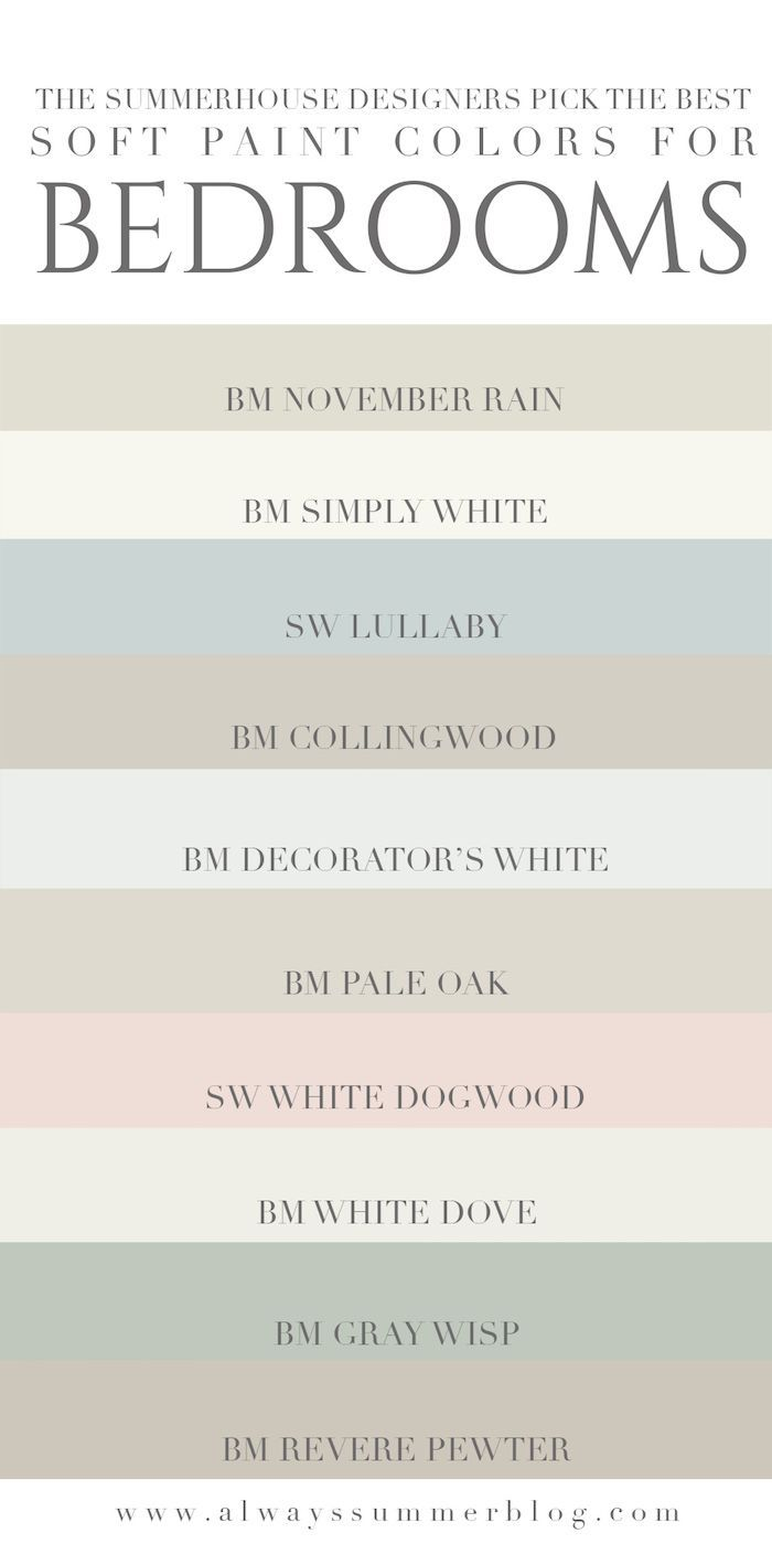 The Summerhouse Designers Weigh In On Their Favorite Light Paint Colors For Bedrooms Alwayss Best Bedroom Paint Colors Bedroom Paint Colors Soft Paint Color