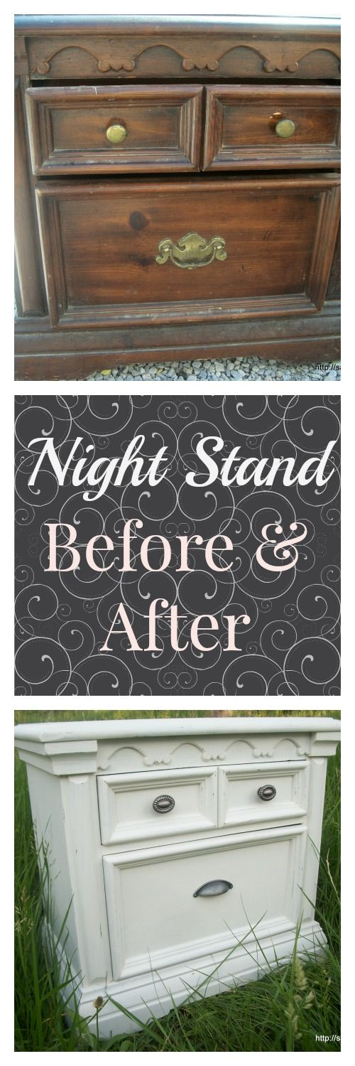 Night Stand Before and After - Check out the incredible transformation of this $4 night stand using new hardware and homemade chalk paint.