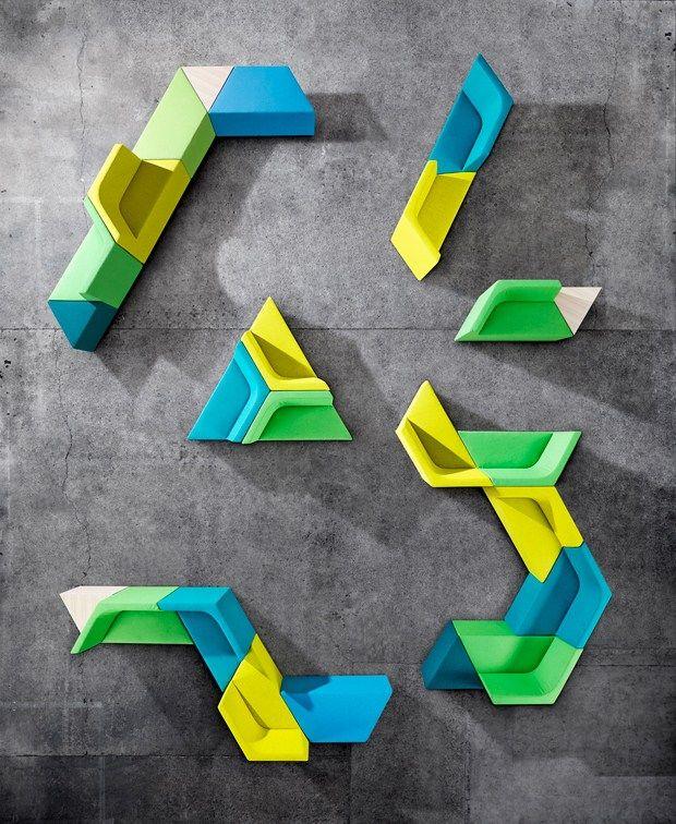Modular fabric bench with back PRISMA | Modular bench - @derloteditions