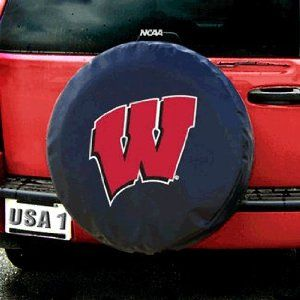 Wisconsin Badgers NCAA Spare Tire Cover (Black) by JR Sports. $35.95. Brand New. These great tire covers are made with a heavy gauge vinyl that has an elastic tie down for an easy fit. It is a universal fit tire cover; that fits tires with up to 16 inch rims (tire diameter up to 29 inches). It's also water resistant; and wipes clean with a damp cloth.