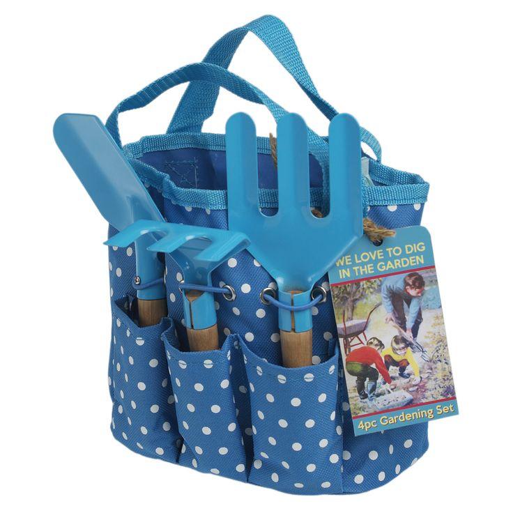 Set da bambini... ma io lo voglio per me!    Childrens Gardening Set In Blue Bag   DotComGiftShop
