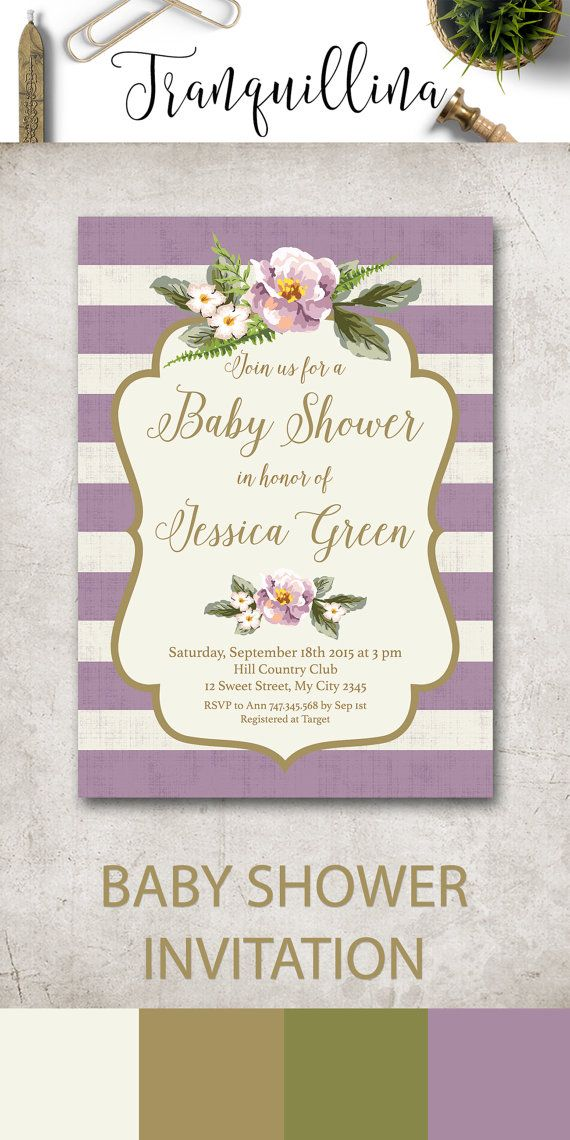 Girl Baby Shower Invitation Printable, Floral Baby Shower Invitation, Lilac Baby…