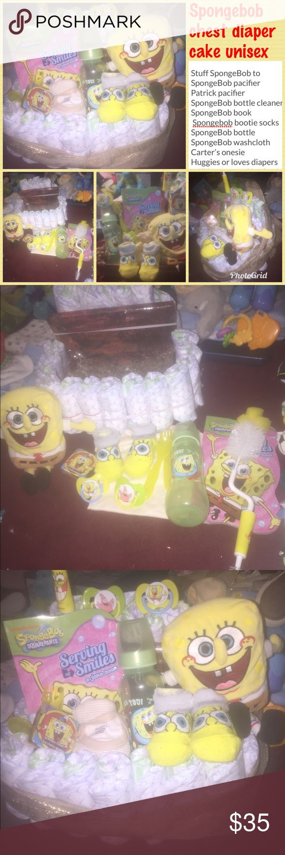 Spongebob chest diaper cake unisex Stuff SpongeBob to  SpongeBob pacifier Patrick pacifier  SpongeBob bottle cleaner  SpongeBob book  Spongebob bootie socks  SpongeBob bottle  SpongeBob washcloth  Carter's onesie  Huggies or loves diapers Will be wrapped in plastic with ribbon Accessories