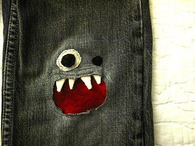 Repair holes in boy's jeans.