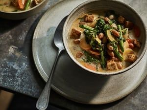 'So hearty some might consider it a stew, bright with aromatics and chilli': Anna's lemongrass and peanut broth.