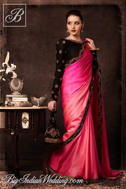 Tisha Saksena designer saree with ornate blouse. SO pretty!