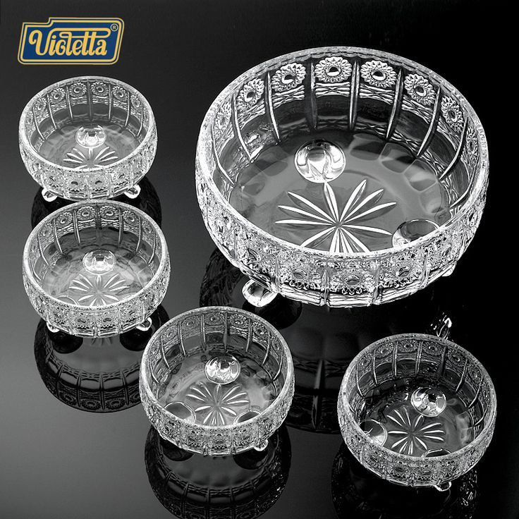 Violet fashion fruit plate set glass crystal bowl European large fruit bowl candy dish room