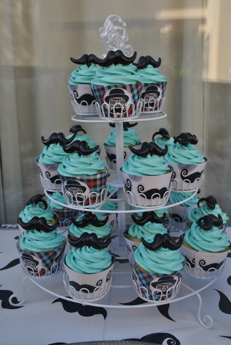 Home made mustache cupcakes with mustache cupcake rings!