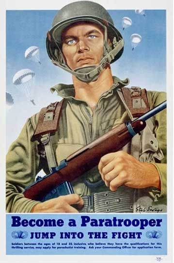 Poster - US Army Paratrooper, WWII:  www.blackenwolf.com .... My father was a paratrooper who was injured in his first jump; the resulting pain haunted him for the rest of his life~