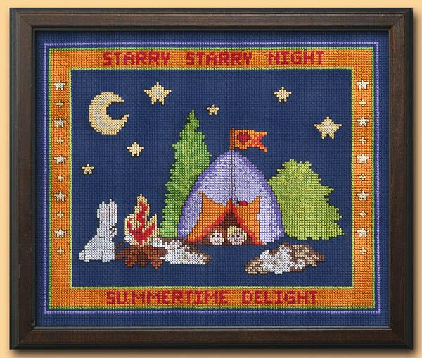 Starry Night Cross-stitch - Crafts 'n things-free cross stitch pattern w/link to chart & key for colors
