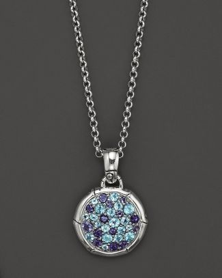 """John Hardy Bamboo Silver Lagoon Colorway Small Round Pendant with Swiss Blue Topaz and Iolite on Chain Necklace, 18"""" Bloomingdale's"""