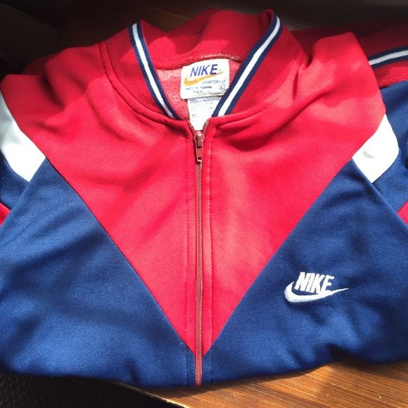 WEEKEND SALEVintage Nike track jacket 80s vintage Nike track jacket‼️Only sign of wear is on the zipper. USA Olympic colors. Size large. No trades Nike Jackets & Coats