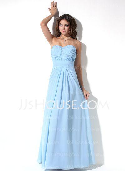 Bridesmaid Dresses - $116.99 - Empire Sweetheart Floor-Length Chiffon Bridesmaid Dress With Ruffle Beading (007017155) http://jjshouse.com/Empire-Sweetheart-Floor-Length-Chiffon-Bridesmaid-Dress-With-Ruffle-Beading-007017155-g17155
