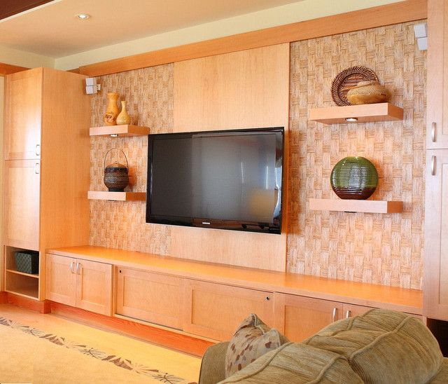 Vivacious Tropical Media Room Design Interior Decorated with Contemporary TV on the Wall Ideas for Home Inspiration