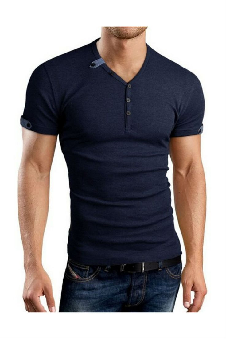 Summer Fashion Men's V-neck T-shirt In Navy