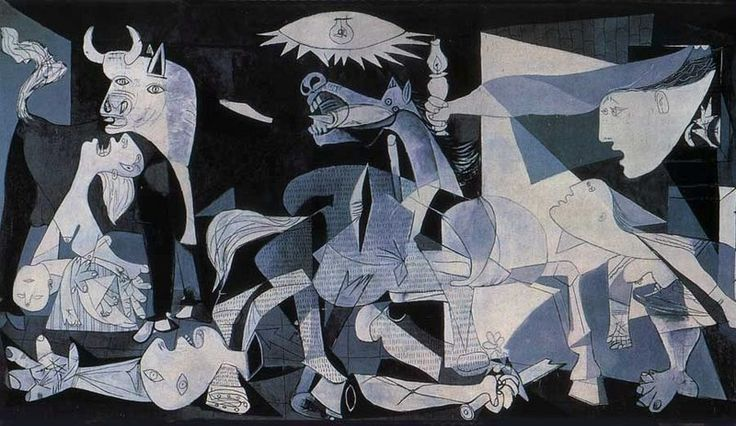 Gernica by Pablo Picasso, 1937, now at the Museo Reina Sofia in Madrid, but I saw it at first at the Museum of Modern Art in NYC sometime in the '50s.
